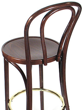 Hairpin Back Bentwood Bar Stool Wood Seat Rear View