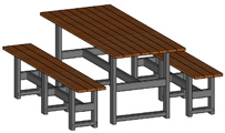 European Made Beer Garden Tables And Benches Steel Frames, Chestnut Seats And Tops