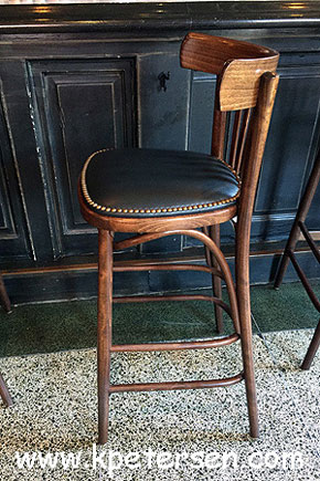 Steam Bent Wood Bistro Bar Stool Nail Trimmed Upholstered Seat Installation Side View
