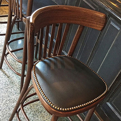 Steam Bent Wood Bistro Bar Stool Nail Trimmed Upholstered Seat