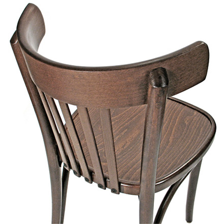 Bistro Chair Bentwood Style, Veneer Seat Walnut Stain Rear View Detail