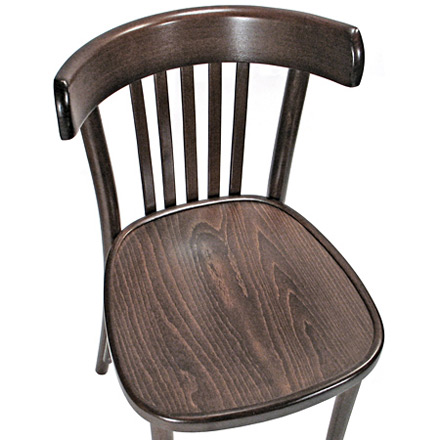 Bistro Chair Bentwood Style, Veneer Seat Walnut Stain Front Seat and Backrest View