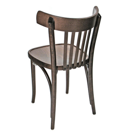 Bistro Chair Bentwood Style, Veneer Seat Walnut Stain Rear View