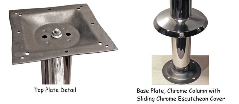 Economy Chrome Bolt Down Table Base Top Plate and Escutcheon Cover Detail