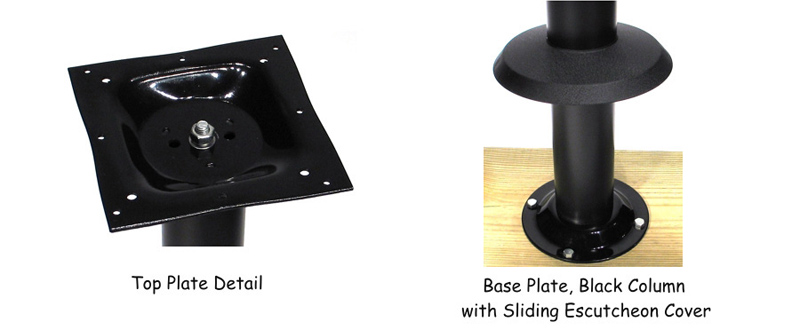 Economy Bolt Down Table Base Top Plate and Escutcheon Cover Detail