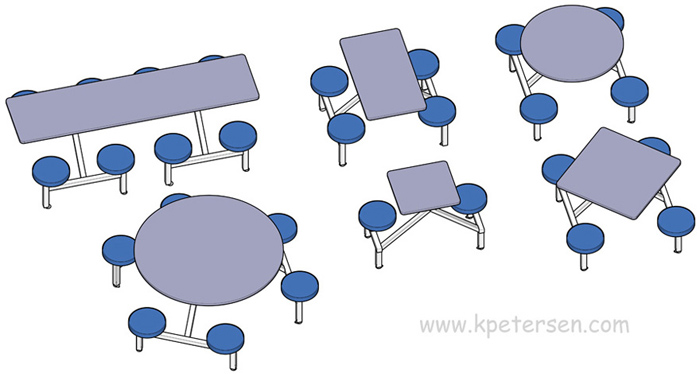 Round Composite Button Seat Seat Cafeteria Cluster Seating Units