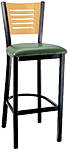 Budget Steel Bar Stool with Open Wood Slot Back