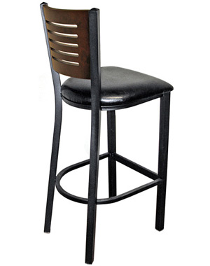 Economy Steel with Wood Slot Back Bar Stool Rear View