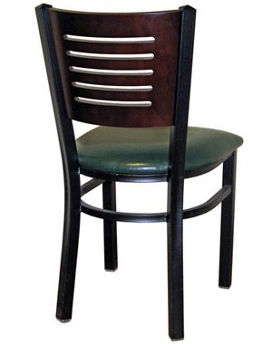 Economy Steel with Wood Slot Back Restaurant Chair Rear View