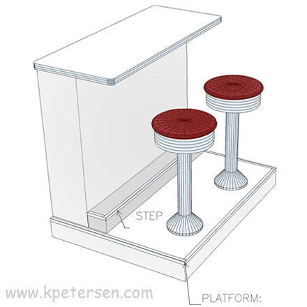 Counter Stools On Platform With Built In Step