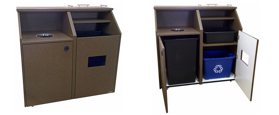 Top Drop Style Waste Receptacle Bussing Station Combination Cabinet