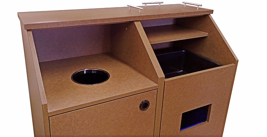 Top Drop Waste Receptacle Bussing Station Combination Cabinet Detail