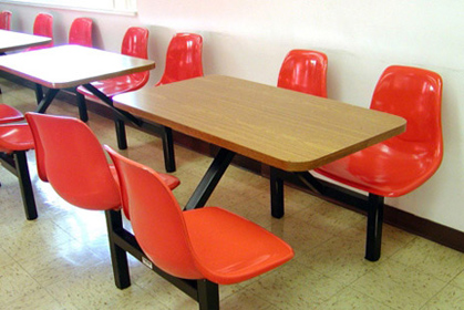 Fiberglass Shell Seat Cafeteria Four Seat             Rectangular Cluster Seating Unit Installation