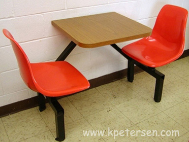 Fiberglass Shell Seat Cafeteria Two Seat             Rectangular Cluster Seating Unit Installation