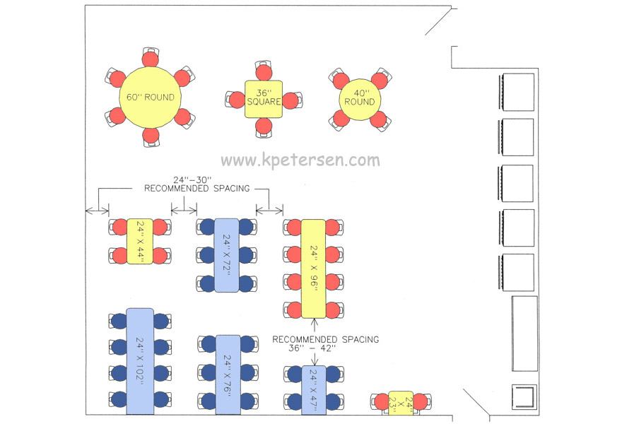 Cafeteria Cluster Seating Arrangement Drawings Plan View.
