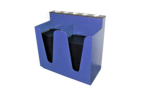 Double Cafeteria Tray Pick Up with Solid Surface Dispenser Bins