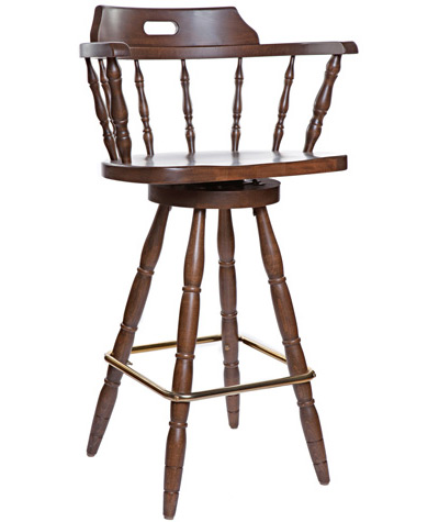 Early American, Colonial Style Wood Restaurant Dining Room Captains Bar Chair Wood Seat
