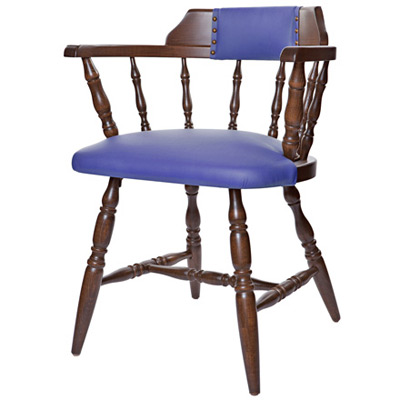 Early American, Colonial Style Wood Restaurant Dining Room Captains Armchair Upholstered Seat and Back