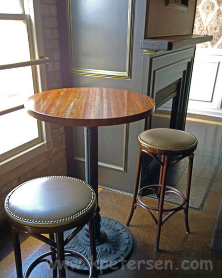 Ornate Round Cast Iron Bar Table Base Installation