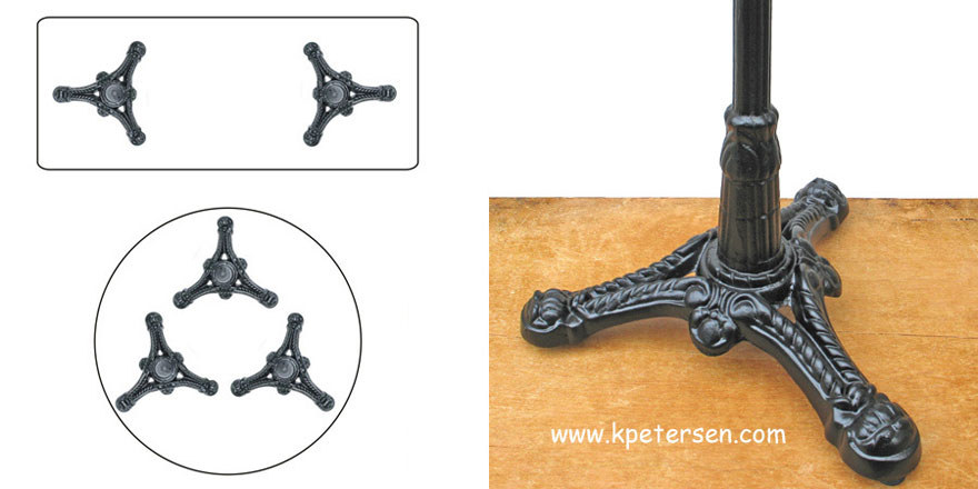 Ornate Cast Iron Tripod Table Base Dimensions Detail 2