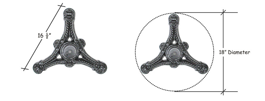 Ornate Cast Iron Tripod Table Base Dimensions Detail