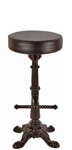 Ornate Cast Iron Crossfoot Bottom Pub Stool With Cast Iron Footrest