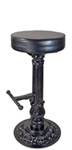 Ornate Cast Iron Round Bottom Pub Stool With Cast Iron Footrest