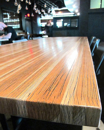 Solid Cherry Restaurant Table Cherry Wheat Restaurant Installation