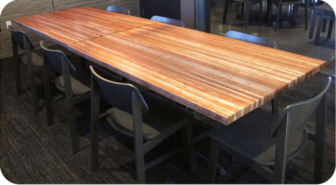 Solid Cherry Restaurant Table Cherry Wheat Installation