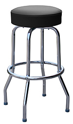 QUICKSHIP Economy Chrome Bar Stool Black Vinyl