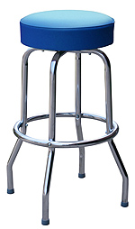 QUICKSHIP Economy Chrome Bar Stool Blue Vinyl