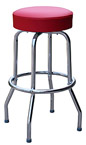 QUICKSHIP Economy Retro Chrome Bar Stool Red Vinyl