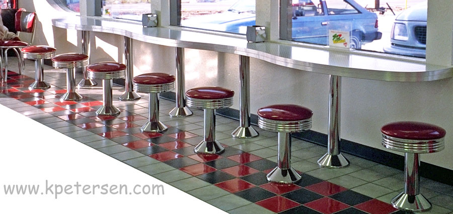 Chair Height Soda Fountain Counter Stool with Round Chrome Ring Seat Installation