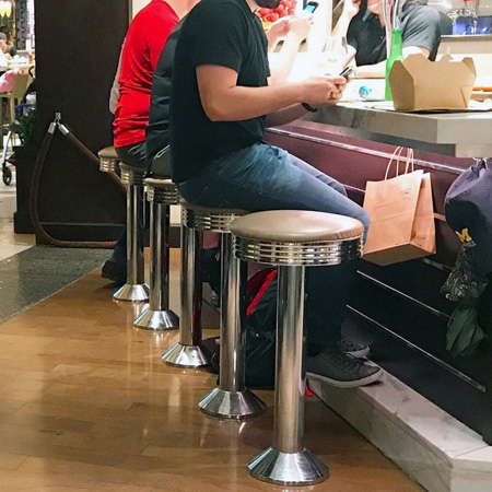 Soda Fountain Counter Stool With Chrome Ring Seat Without Footrest Installation