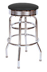 QUICKSHIP 1950's Chrome Ring Budget Bar Stool Black Vinyl