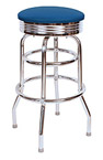 QUICKSHIP 1950's Chrome Ring Budget Bar Stool Blue Vinyl