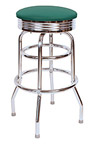 QUICKSHIP 1950's Chrome Ring Budget Bar Stool Green Vinyl