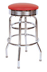QUICKSHIP 1950's Chrome Ring Budget Bar Stool Red Vinyl