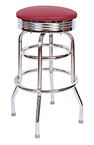 QUICKSHIP 1950's Chrome Ring Budget Bar Stool Wine Vinyl