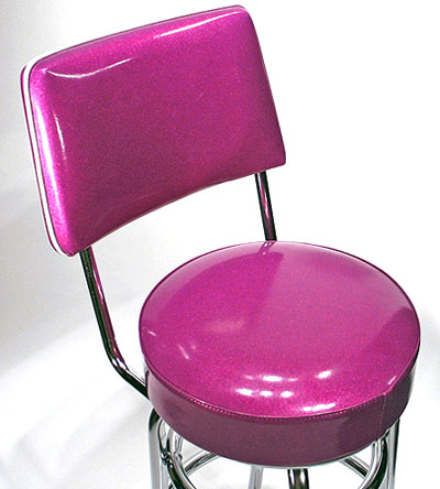 Fuschia Seat and Back Detail Double Ring Chrome Bar Stool with Backrest