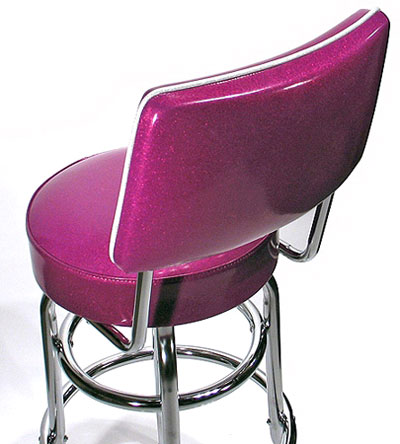 Fuschia Seat and Back of Back Detail Double Ring Chrome Bar Stool with Backrest