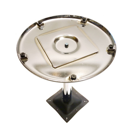 Round Chrome Chrome Table Base Underside View