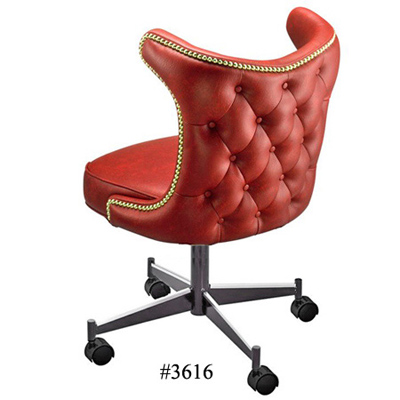 Retro Nail Trim Upholstered Back Club Chair With Casters 3616