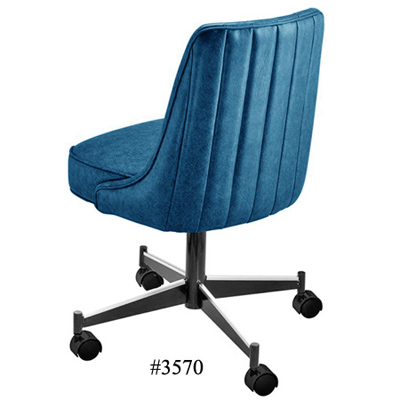 Channel Back Upholstered Club Chair With Casters 3670