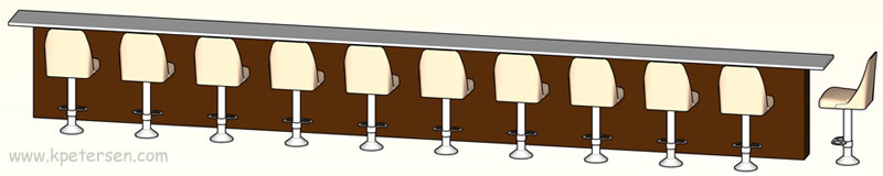 Coffee Shop Counter Stools With Footrest Installation Drawing