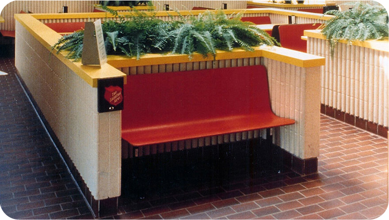 Laminated Plastic Contour Waiting Booth Seating Installation