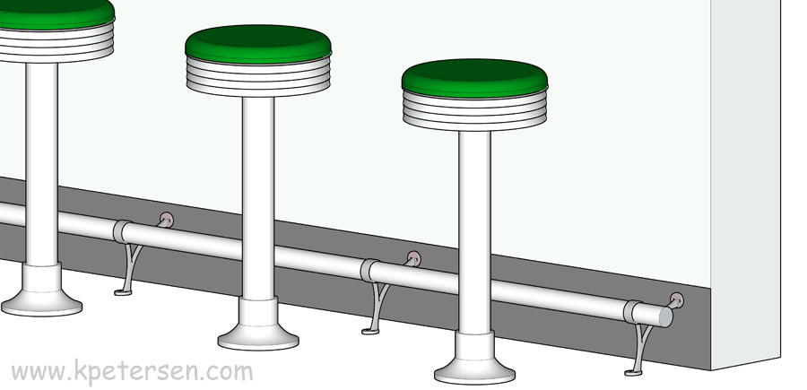 Bolt Down Counter Stools With Built-In Footrest Detail Drawing