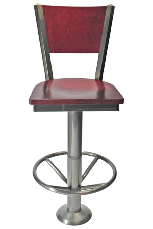 Wood Back Bolt Down Counter Stool Wood Seat Front View