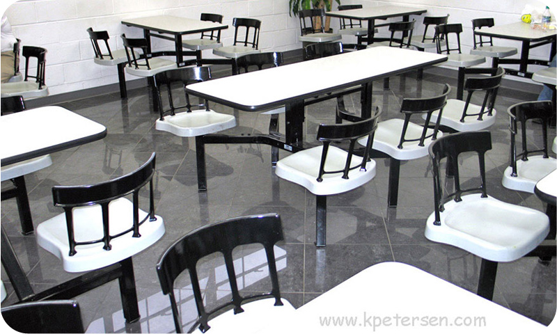 Heavy Duty Cast Aluminum Backrest Cafeteria Cluster Seating Installation