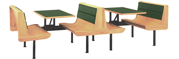 Fast Food Upholstered Wood And Plastic Laminate Restaurant Booths